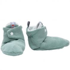 Chaussons en coton Ciumbelle vert d'eau (3-6 mois)