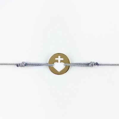 Bracelet cordon bébé médaille Mini Sacré Coeur 10 mm (or jaune 750°) Maison La Couronne