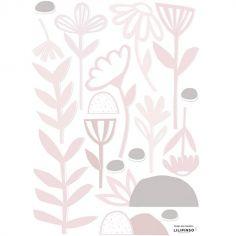 Stickers fleurs et feuillages rose clair (29,7 x 42 cm)