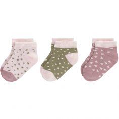 Lot de 3 paires de chaussettes bébé en coton bio rose et cannelle (pointure 19-22)