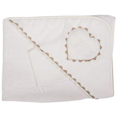 Cape de bain et gant Emma blanc (75 x 80 cm)  par Nougatine