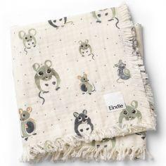 Couverture en coton froissé souris Forest Mouse (75 x 100 cm)