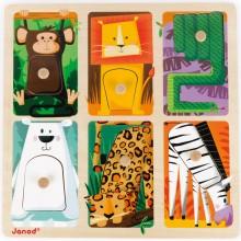 Puzzle tactile Animaux du zoo (6 pièces)  par Janod
