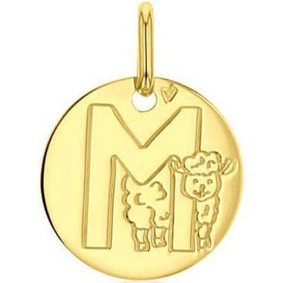 Médaille M comme mouton personnalisable (or jaune 750°)