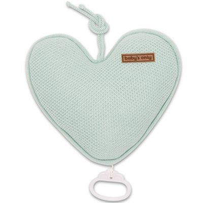Coussin musical coeur Classic vert menthe poudré (26 cm) Baby's Only