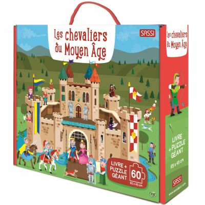 Livre + puzzle géant Les chevaliers du Moyen-Âge (60 pièces) Sassi Junior