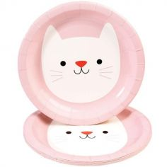 Lot de 8 assiettes en carton Cookie le chat