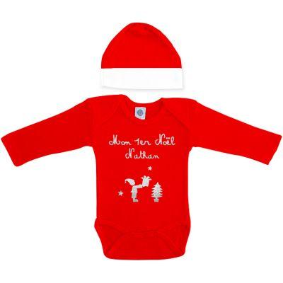 Ensemble body et bonnet Noël rouge à manches longues personnalisable (0-6 mois)
