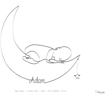 Affiche de naissance Bébé Lune A4 (personnalisable)  par Minoé