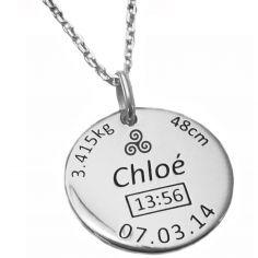 Médaille de naissance Triskell avec chaîne personnalisable (argent 925° rhodié)