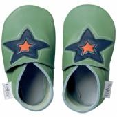 Chaussons bébé cuir Soft soles étoile vert (15-21 mois) - Bobux
