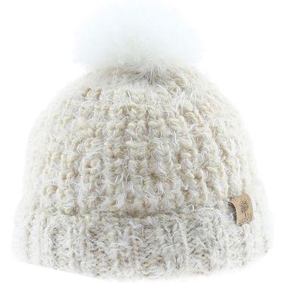 Bonnet en tricot pompon fourrure écru (12-18 mois)