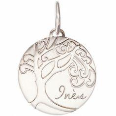 Médaille de naissance Inès personnalisable 17 mm (or blanc 750°)