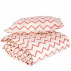 Housse de couette + taie d'oreiller enfant Toronto Zigzag rose (148 x 200 cm)