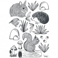 Planche de stickers A3 de animaux forêt