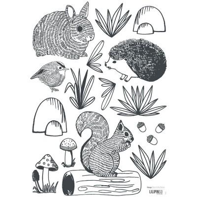 Planche de stickers A3 de animaux forêt  par Lilipinso