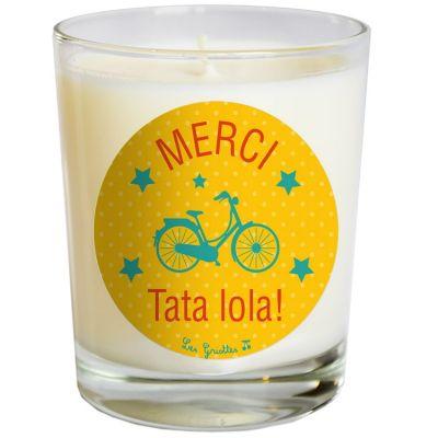 Bougie Merci vélo jaune (personnalisable)  par Les Griottes