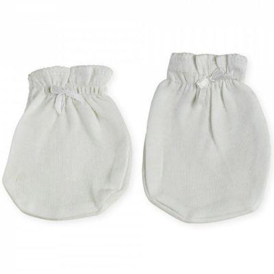 Moufles de naissance en coton blanches  par Trois Kilos Sept