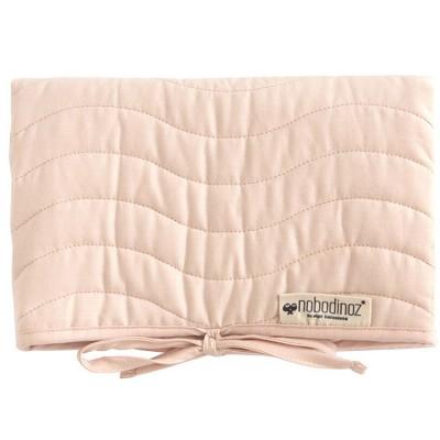 Tapis à langer Marbella coton bio Bloom pink  par Nobodinoz