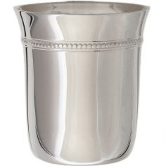 Timbale Evasée Perles en métal argenté dans son coffret