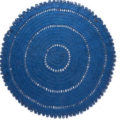 tapis rond gypsy coton bleu lectrique 120 cm varanassi. Black Bedroom Furniture Sets. Home Design Ideas