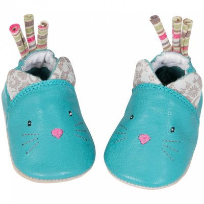 Chaussons cuir chat Les Pachats (12-18 mois)  par Moulin Roty