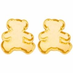 Boucles d'oreilles Bouton ourson (or jaune 375°)