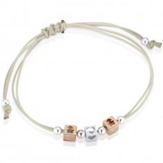 Bracelet cordon beige 2 cubes fille 1 cube coeur (or rose 375° et argent 925°)