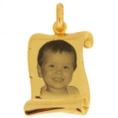 Pendentif parchemin avec photogravure 1 visage (or jaune 375°)