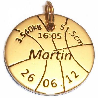 Médaille de naissance ballon de basket (plaqué or jaune)
