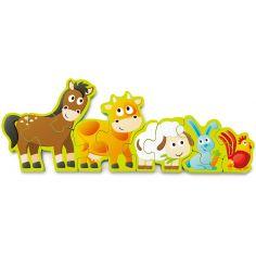 Puzzle en bois réversible animaux de la ferme et chiffres (10 pièces)