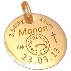 Médaille personnalisable avec croix (or jaune 375°)