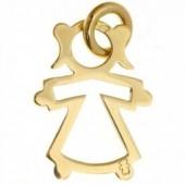 Pendentif silhouette ajourée petite fille 20 mm (or jaune 750°) - Loupidou