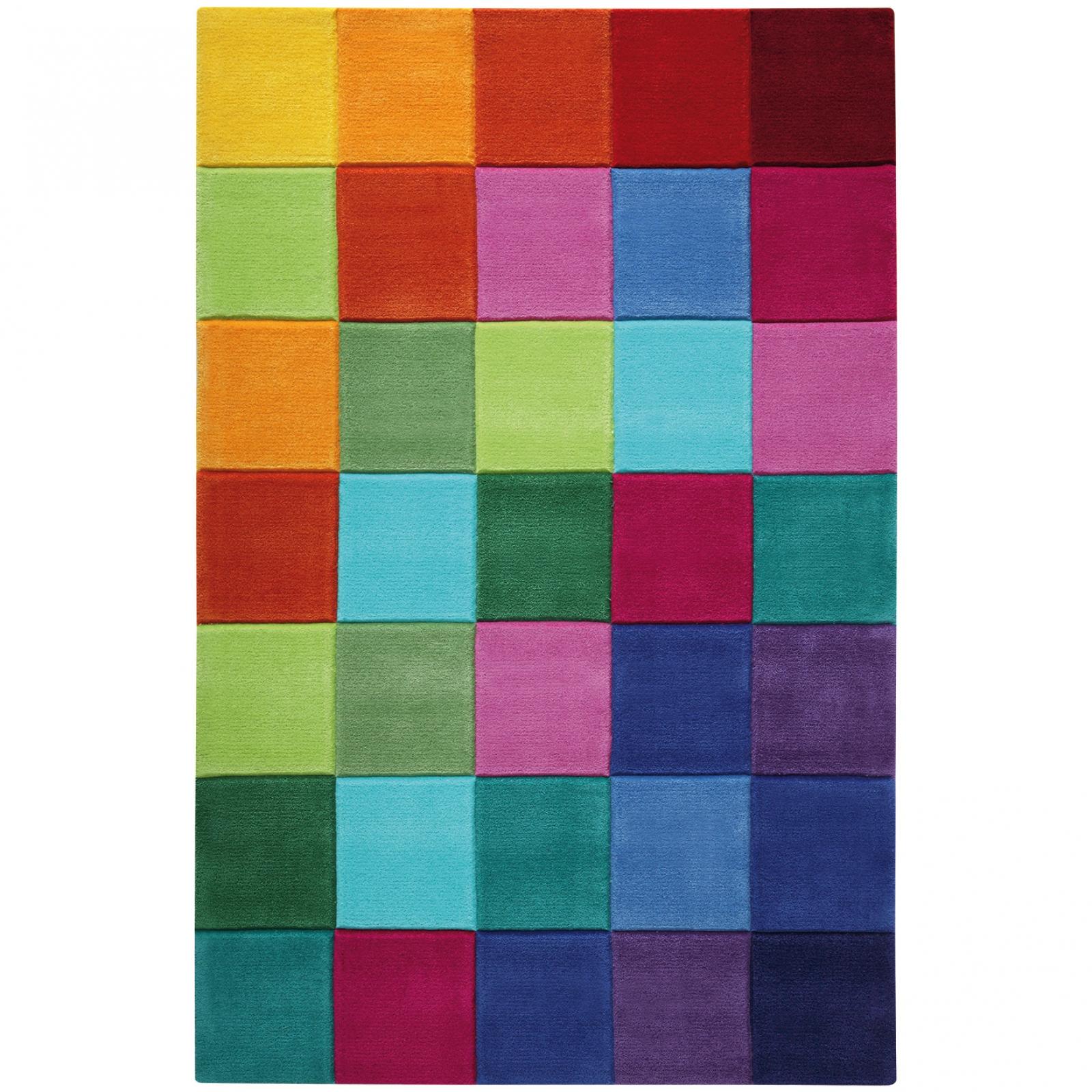 Vite un tapis pour ma chambre : Tapis smart square petits carreaux multicolores 150 x 220