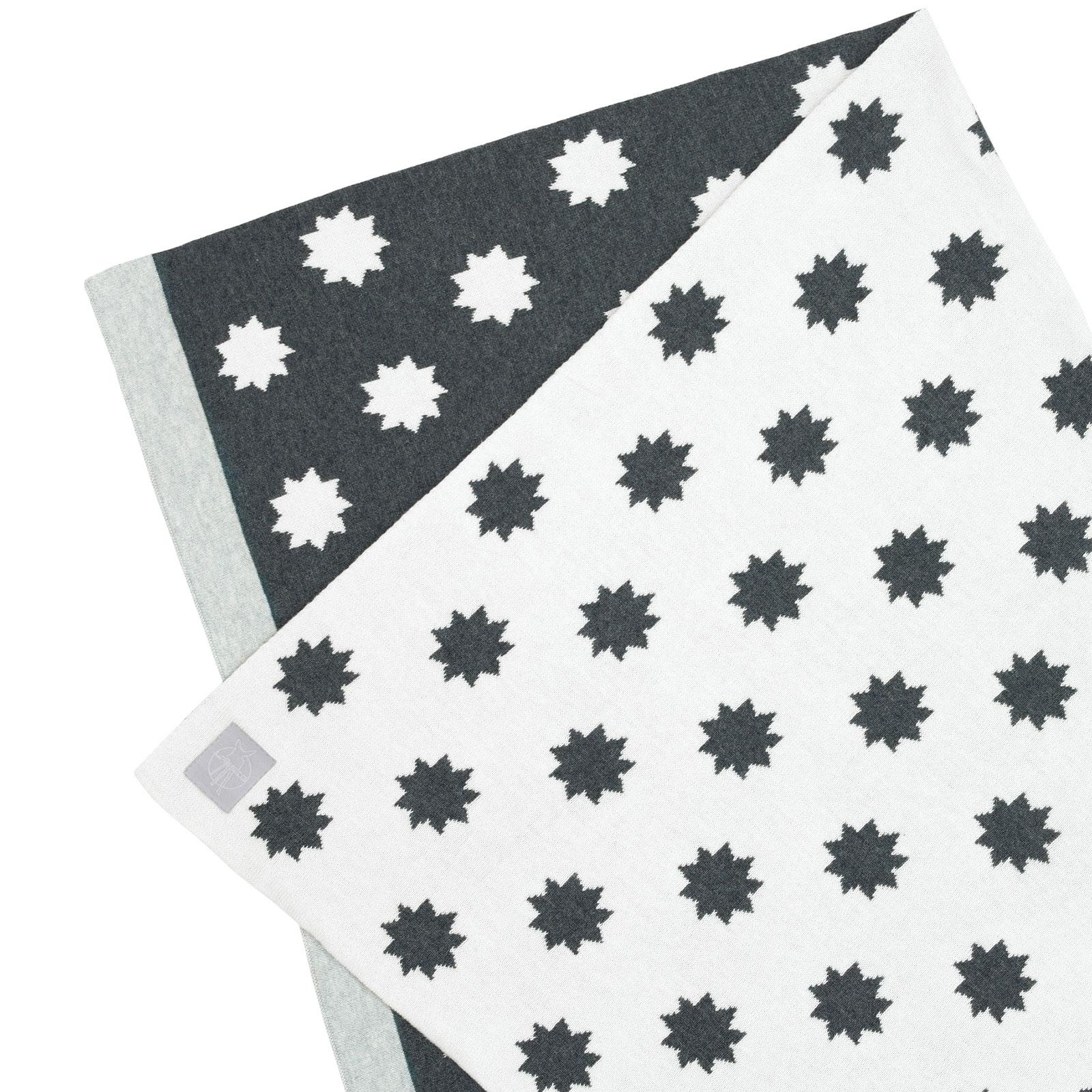 Couverture bébé en coton bio Little Chums étoiles blanche