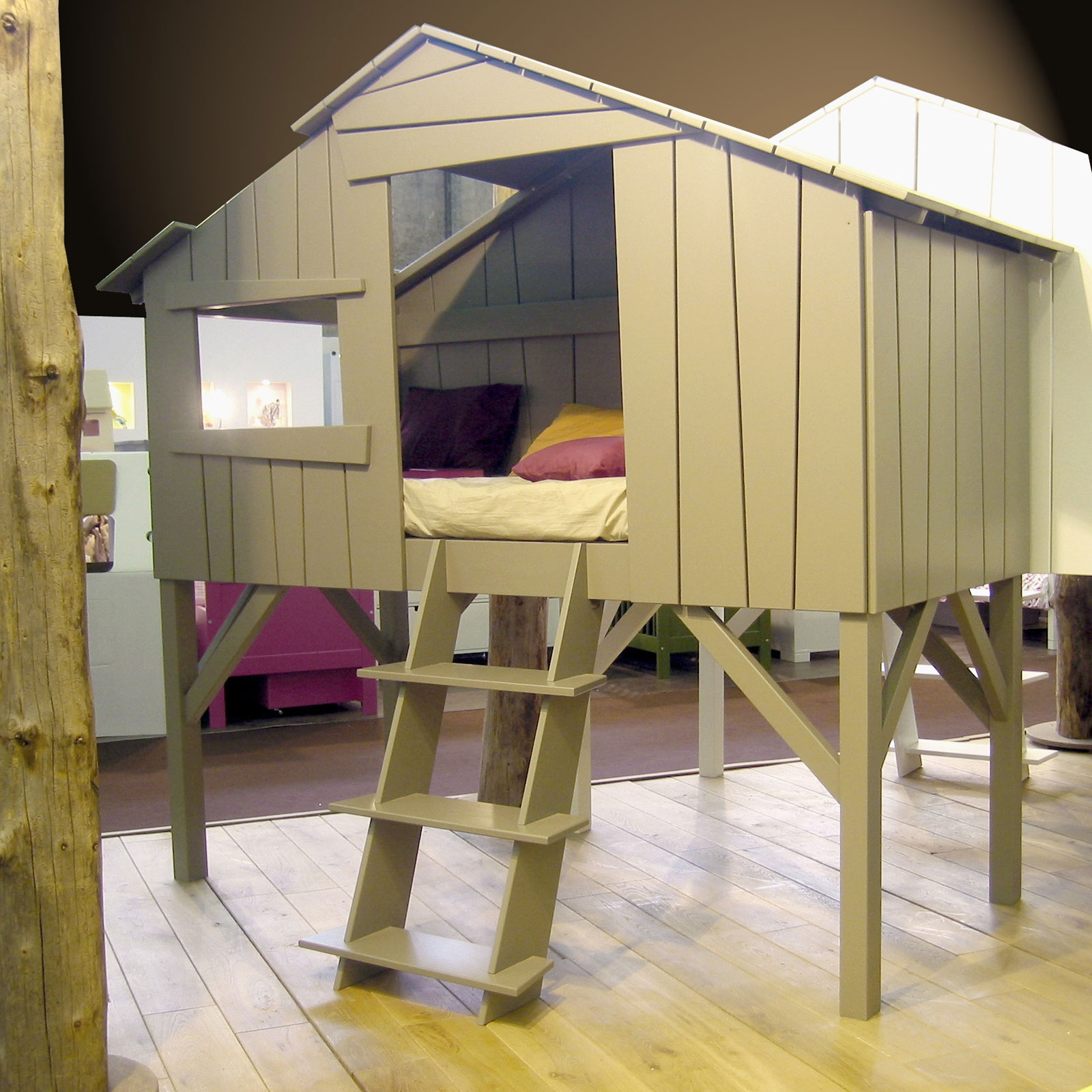 Diy Lit Cabane 90X190 lit cabane enfant finition laquée (4 coloris au choix)