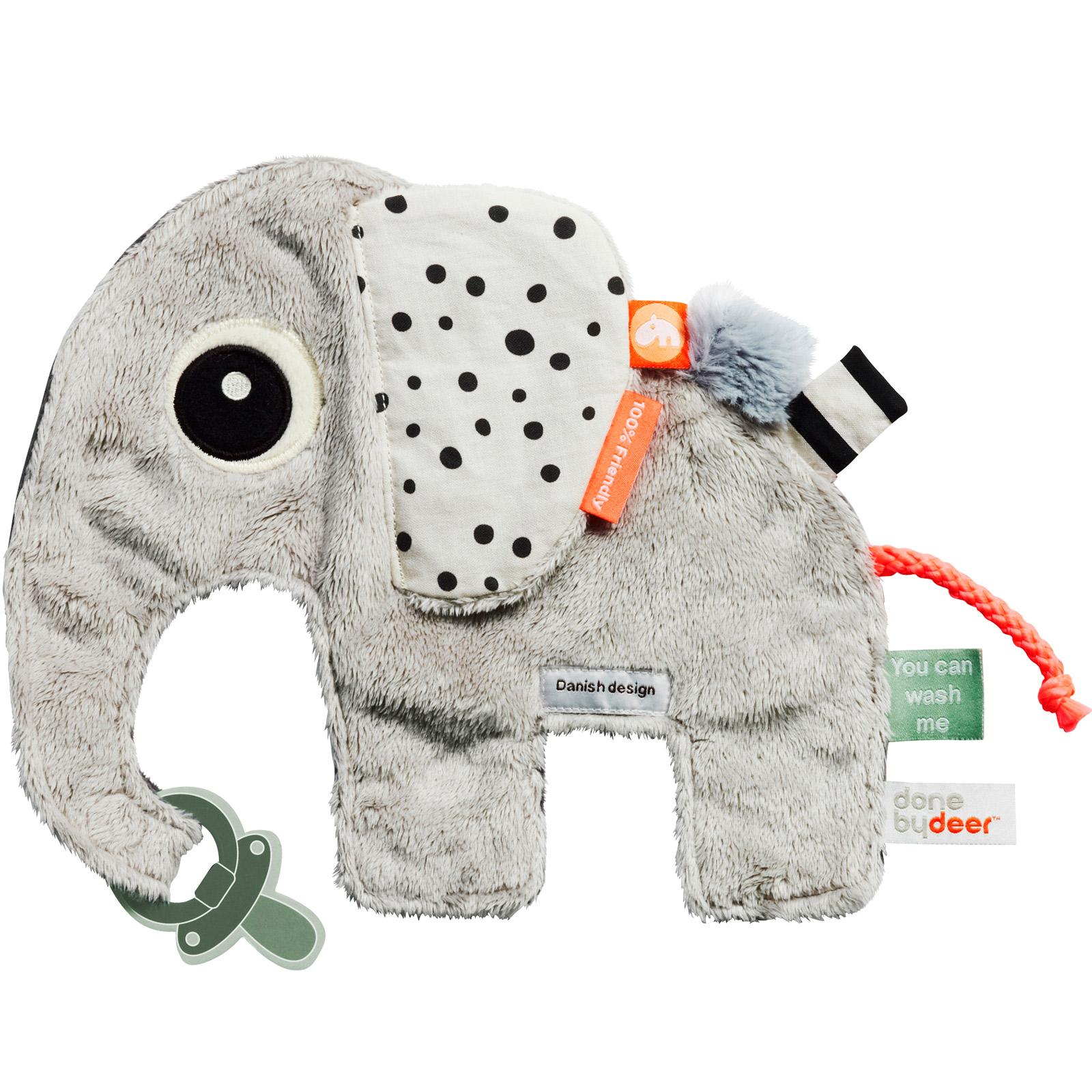 Doudou attache sucette Elphee éléphant gris