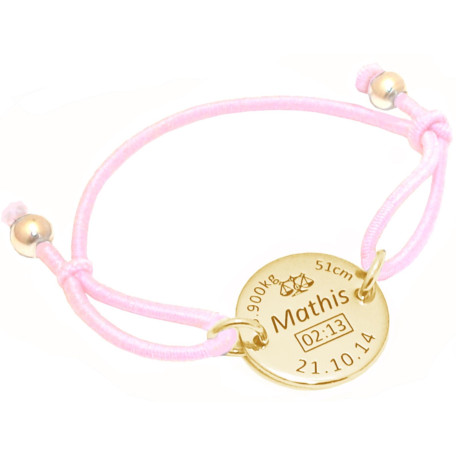 obtenir de nouveaux dernier style de 2019 style moderne Bracelet cordon élastique rose avec médaille de naissance et boules (plaqué  or jaune)