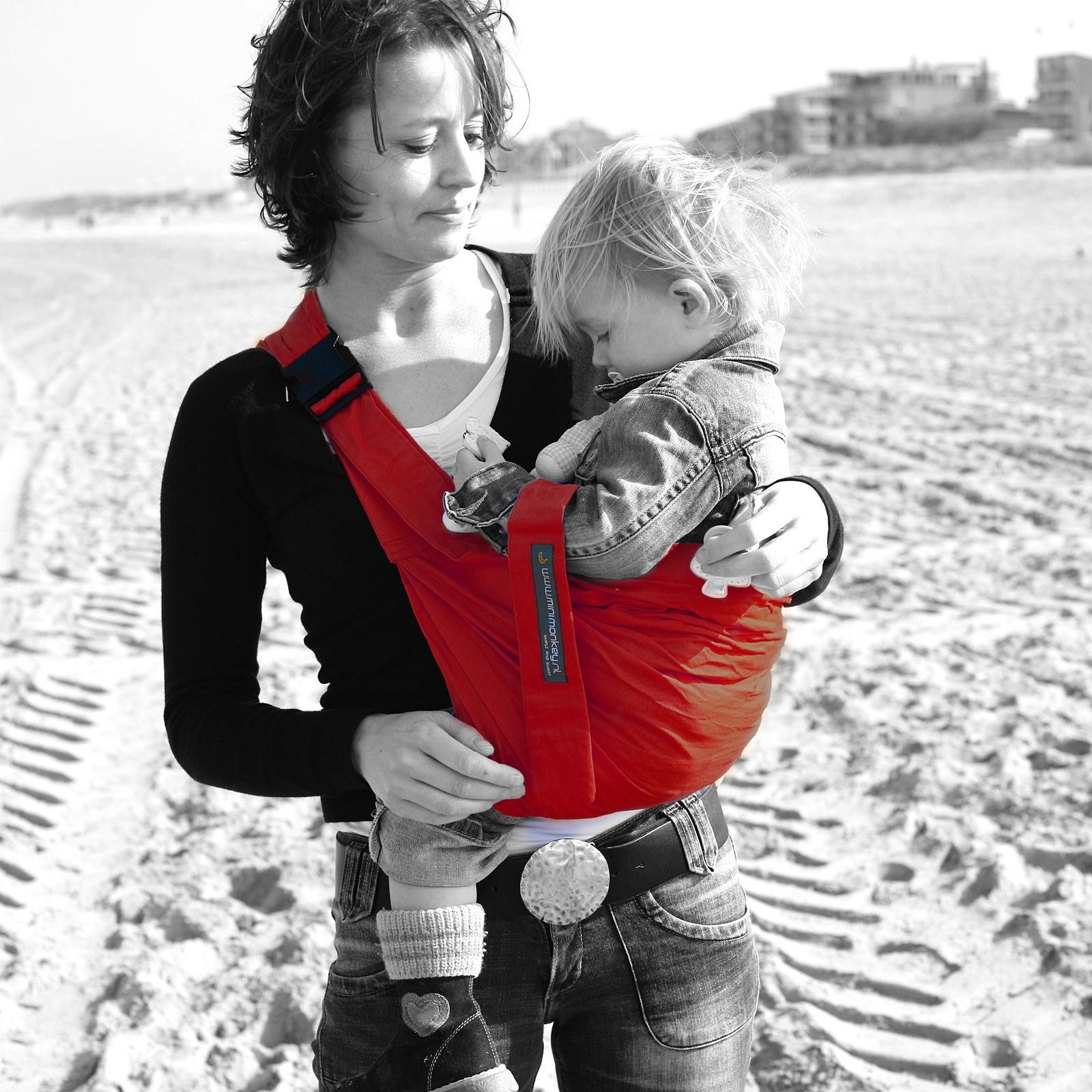 a24dae66e2a Porte bébé Baby Sling rouge   Minimonkey - Berceau Magique