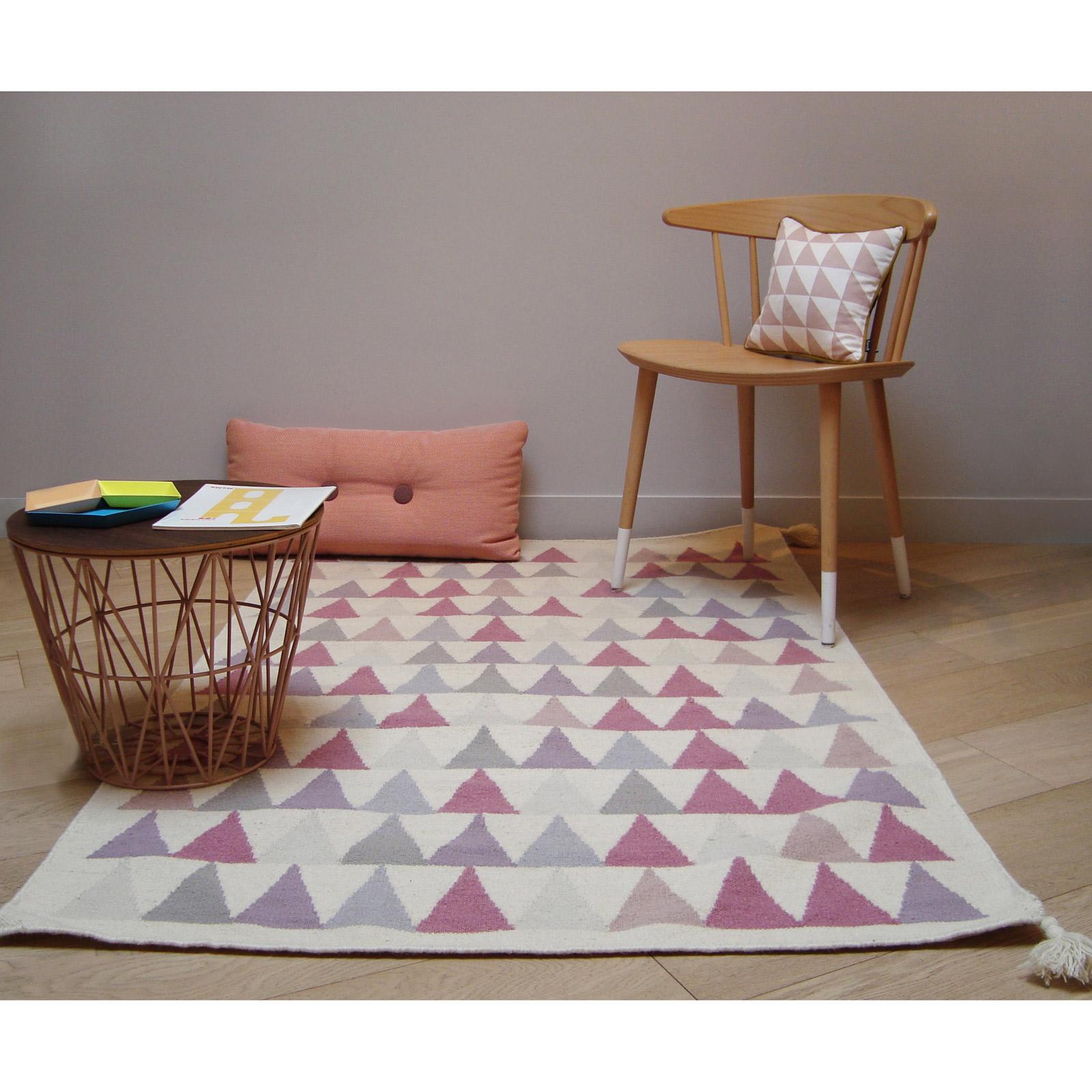 Tapis fille Kilim rose triangles (110 x 160 cm)