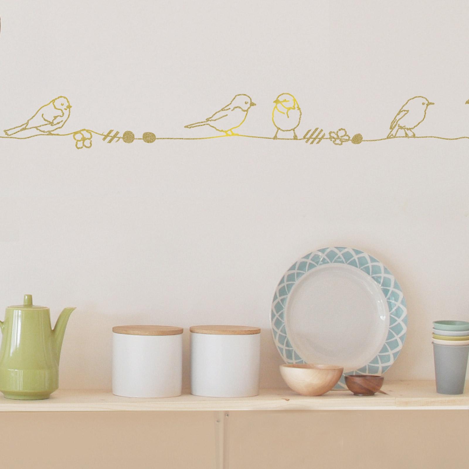 Beautiful frise murale perles et oiseaux gold m mimiulou - Frise murale chambre fille ...