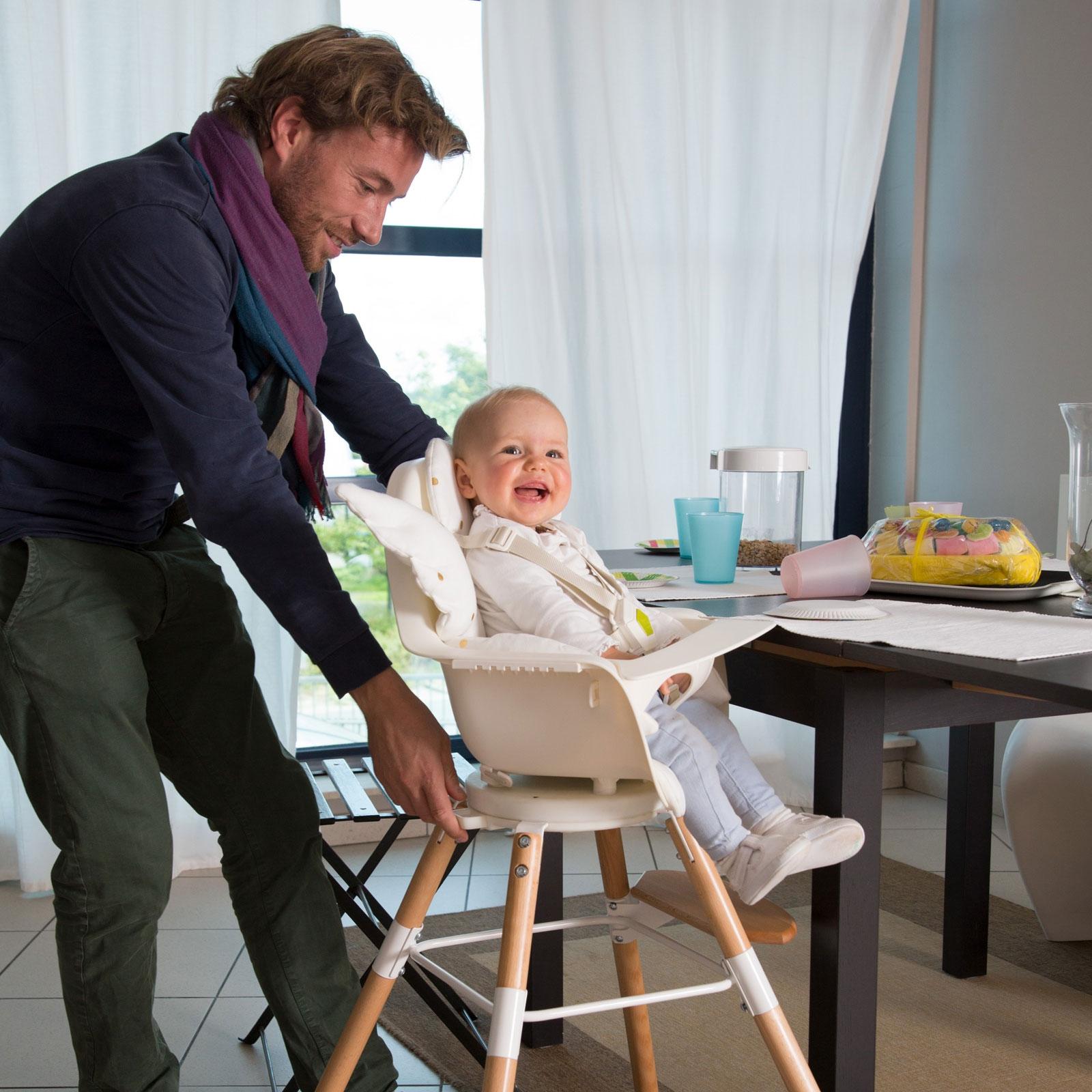 chaise haute evolu one 80 naturel et blanc