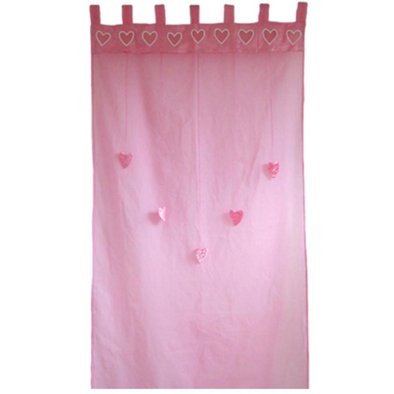 Rideau rose Coeurs suspendus (100 x 280 cm) : Taftan
