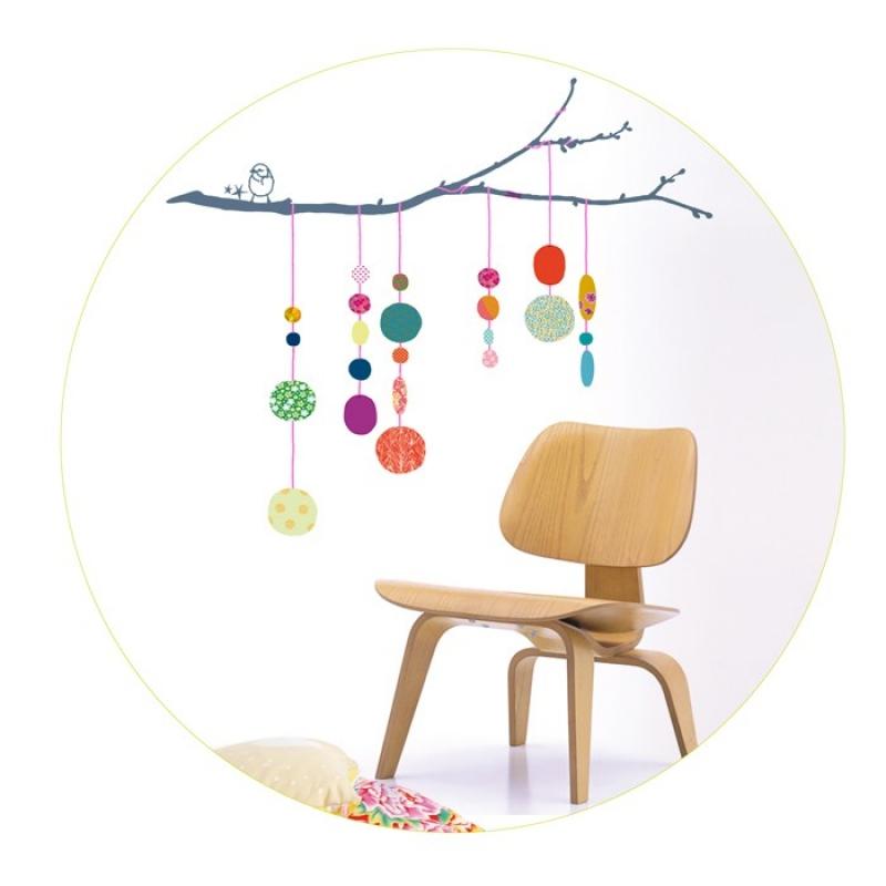 Sticker Oiseaux Sur Un Fil sticker mural chambre enfant fils de perles