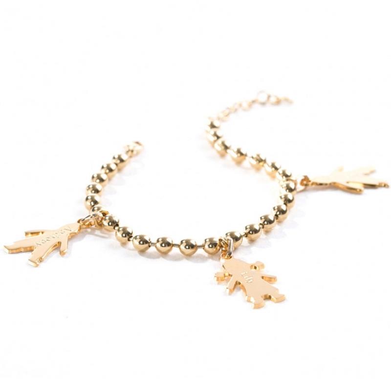 Bracelet chaîne boule 3 charms silhouette petit garçon ou 79b4615d697c