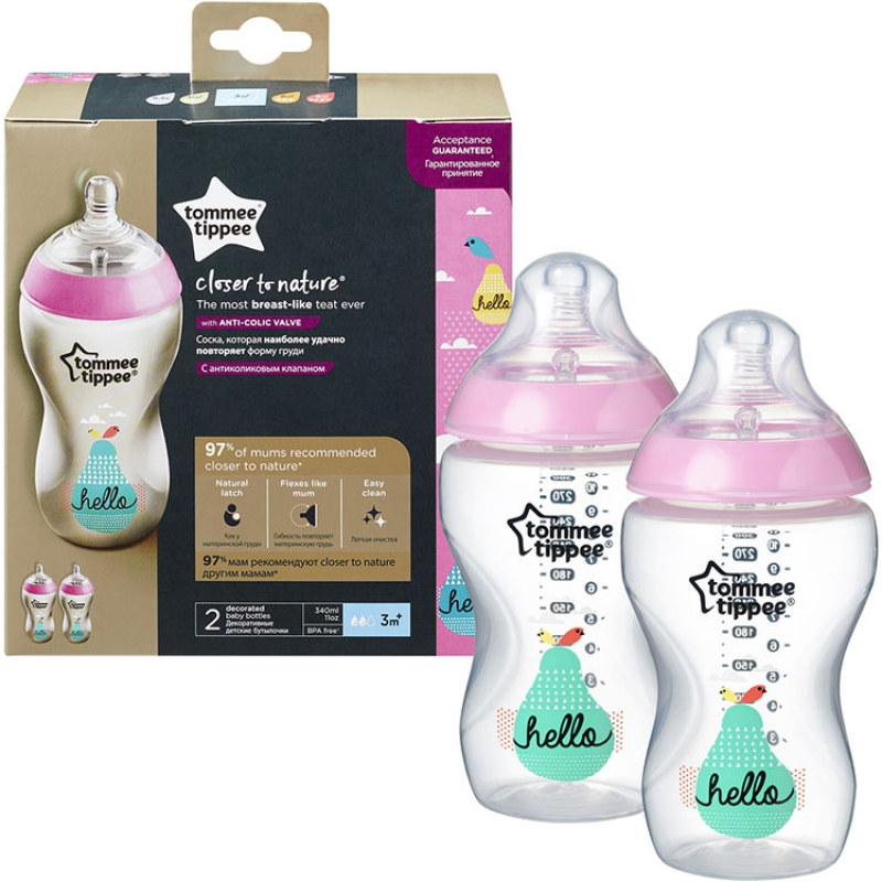 Lot de 3 Tommee Tippee Closer to nature clair bouteilles 260 ml