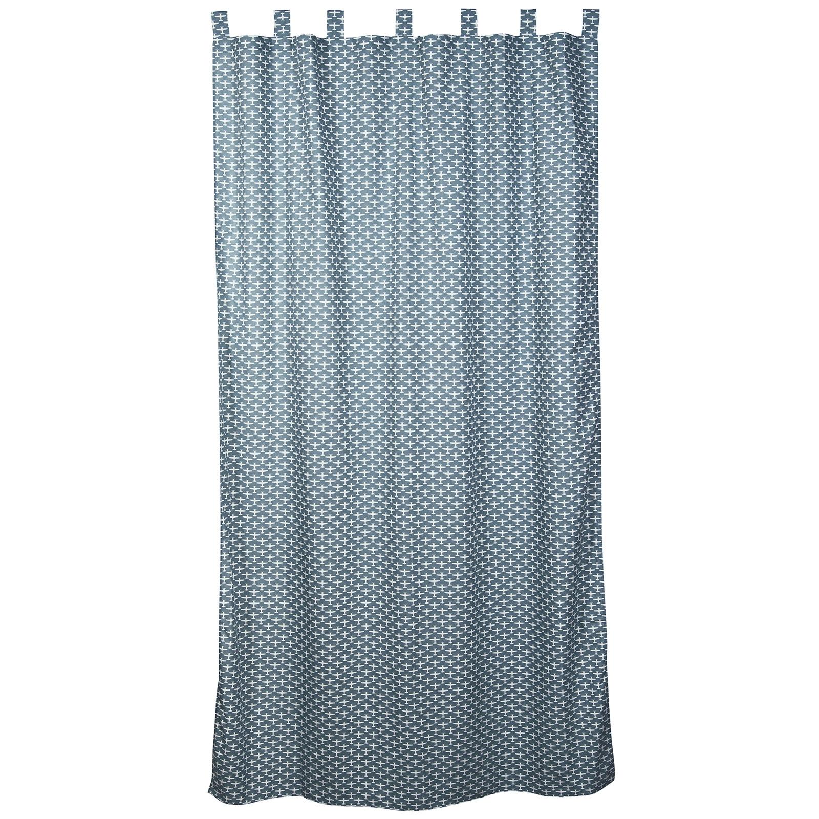 rideau bleu et gris. Black Bedroom Furniture Sets. Home Design Ideas